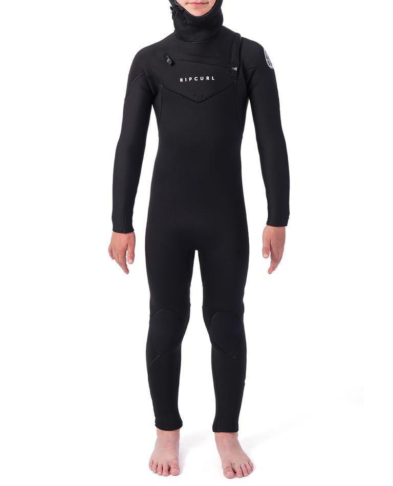 Boys Dawn Patrol 5/4 Hooded Wetsuit in Black