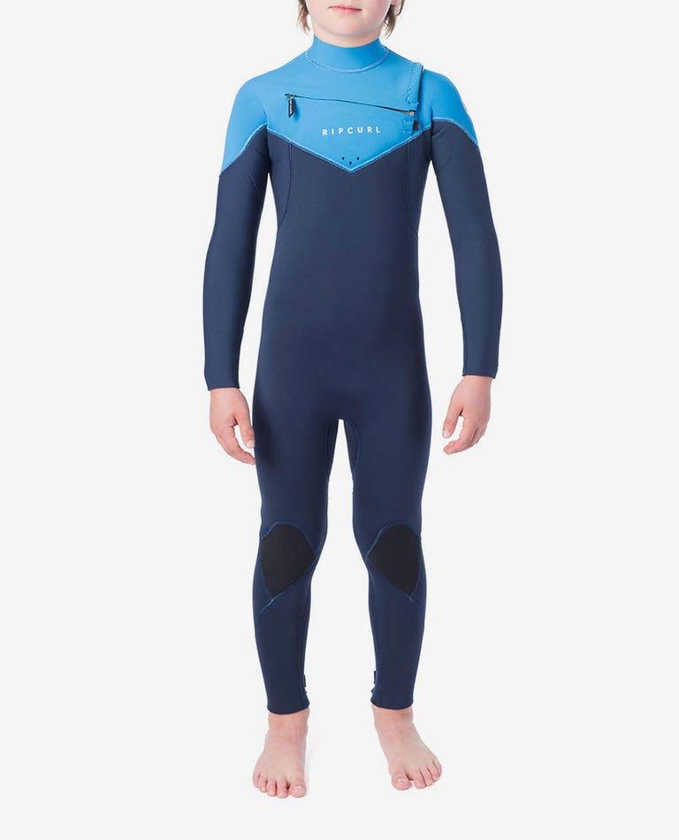 Junior Dawn Patrol 3/2 Chest Zip Wetsuit in Blue