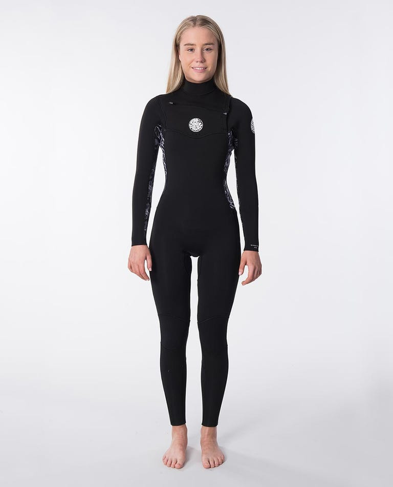 Womens Dawn Patrol 3/2 Chest Zip Wetsuit in Black/Grey