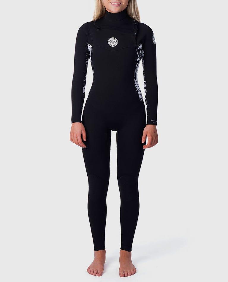 Womens Dawn Patrol 3/2 Chest Zip Wetsuit in Black/Black