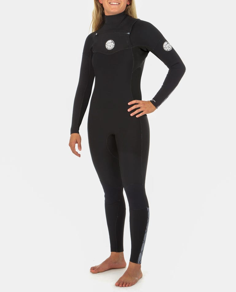Womens 3/2 Dawn Patrol Chest Zip Wetsuit in Black