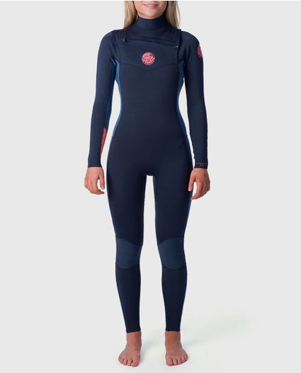 Womens 3/2 Dawn Patrol Chest Zip Wetsuit in Black