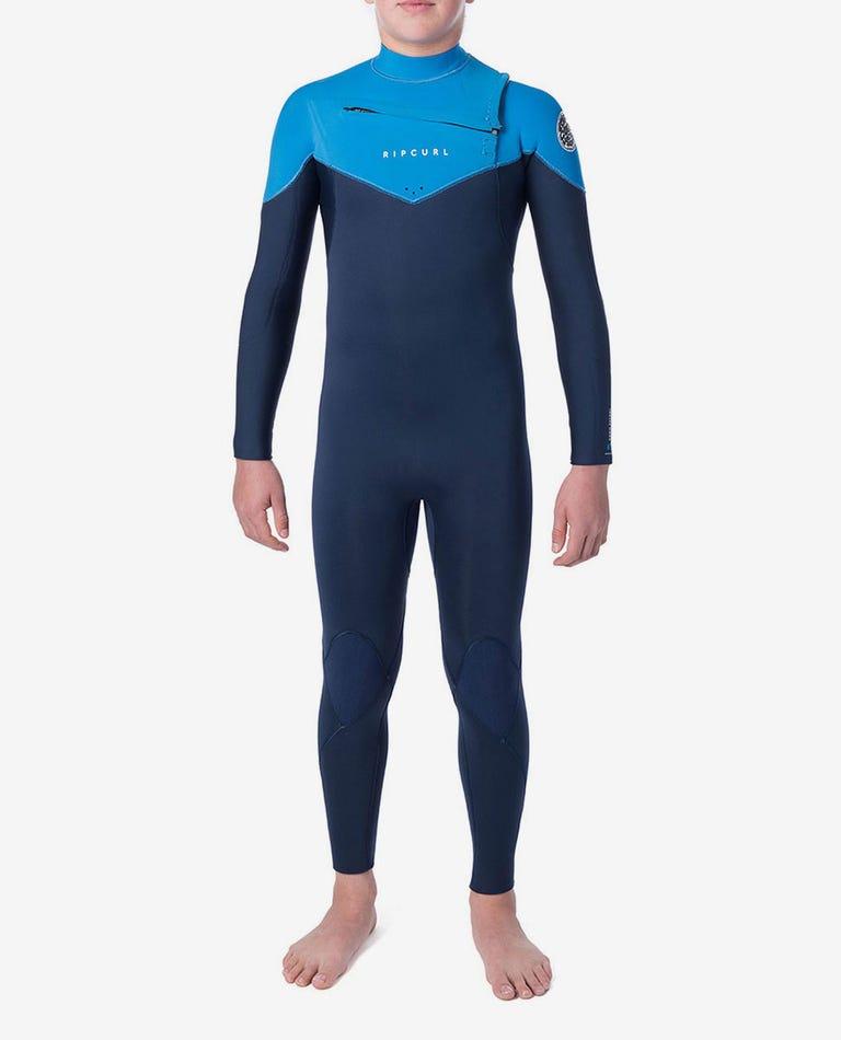 Junior Dawn Patrol 4/3 Chest Zip Wetsuit in Blue