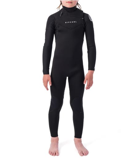 Junior Dawn Patrol 4/3 Chest Zip Wetsuit in Black