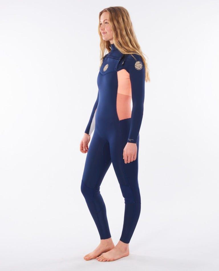 Women's Dawn Patrol 4/3 Chest Zip Wetsuit in Navy