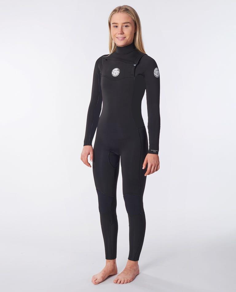 Women's Dawn Patrol 3/2 Chest Zip Wetsuit in Black