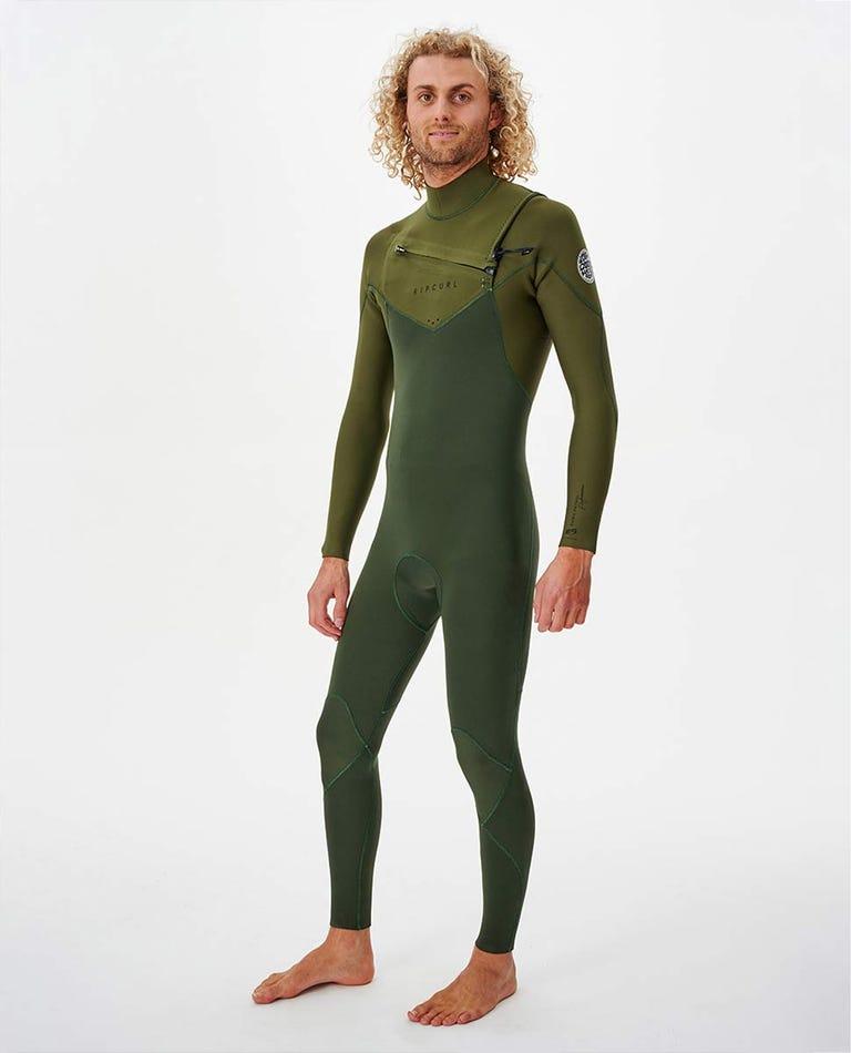 Dawn Patrol Performance 3/2 Chest Zip Wetsuit in Green