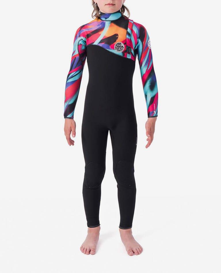 MADSTEEZ Junior Flashbomb 3/2mm Zip Free Wetsuit Steamer in Multico