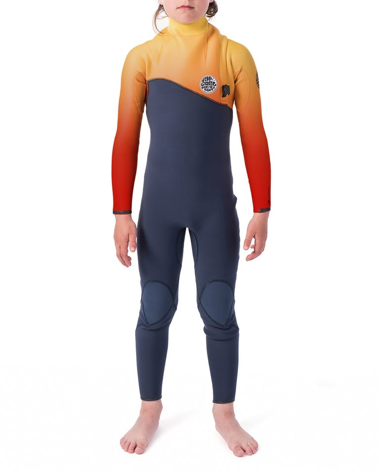 MADSTEEZ Junior Flashbomb 3/2mm Zip Free Wetsuit Steamer in Orange Popsicle