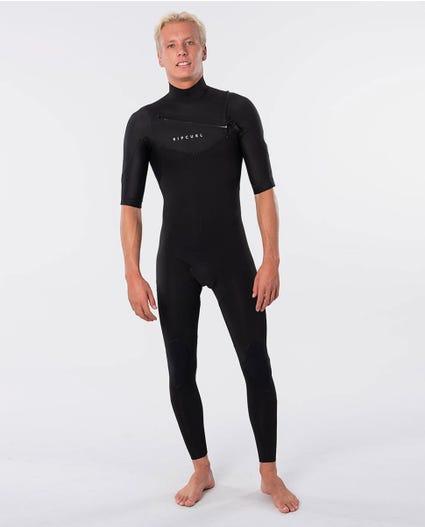 Dawn Patrol Chest Zip Short Sleeve 2mm Wetsuit Steamer in Black