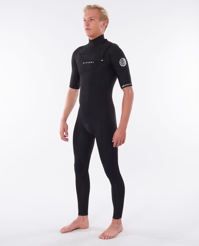 Dawn Patrol Chest Zip Short Sleeve 2mm Wetsuit Steamer in Black