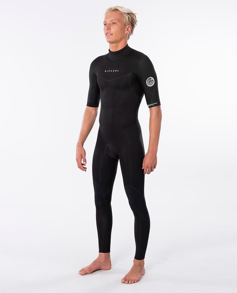 Dawn Patrol Short Sleeve Back Zip Springsuit Wetsuit in Black