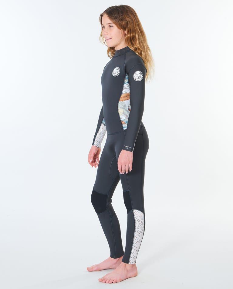 Junior Girls Dawn Patrol 4/3 Back Zip Wetsuit in Charcoal Grey