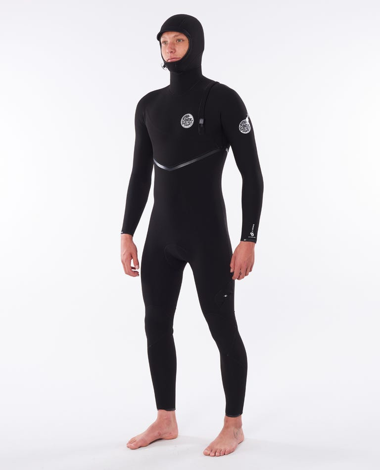 E-Bomb 4/3 Zip Free Hooded Wetsuit in Black