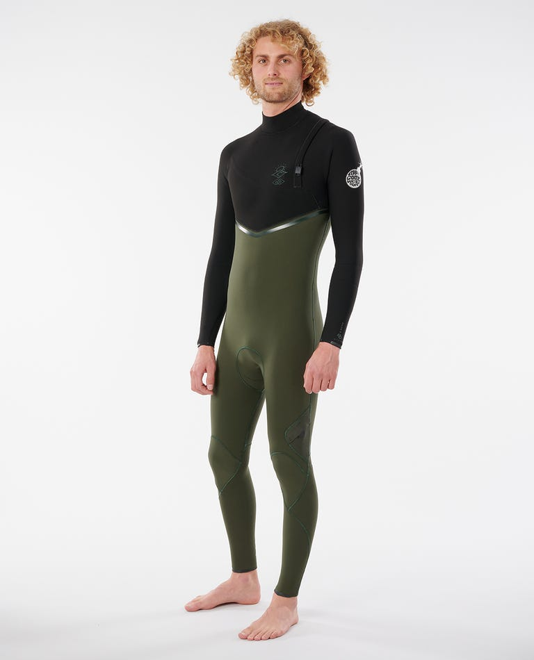 E-Bomb 3/2 Zip Free Wetsuit in Olive