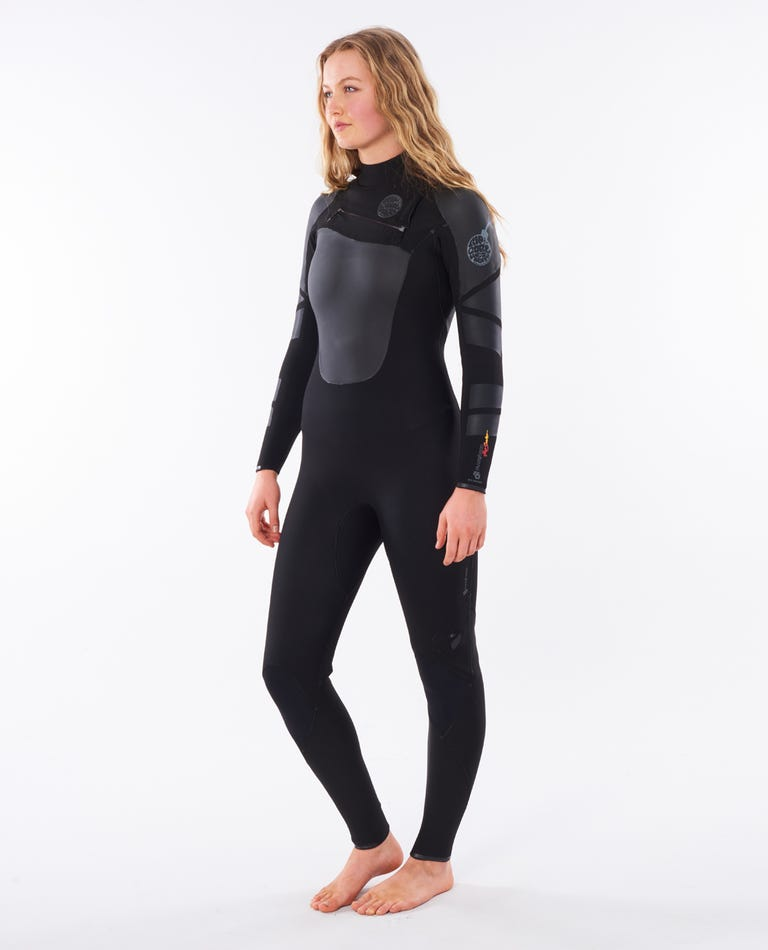 Womens Flashbomb Heatseeker 4/3 Chest Zip Wetsuit in Black