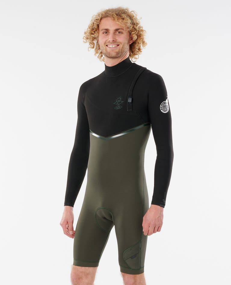 E-Bomb 2/2 GB Sealed Zip Free Long Sleeve Springsuit Wetsuit in Olive