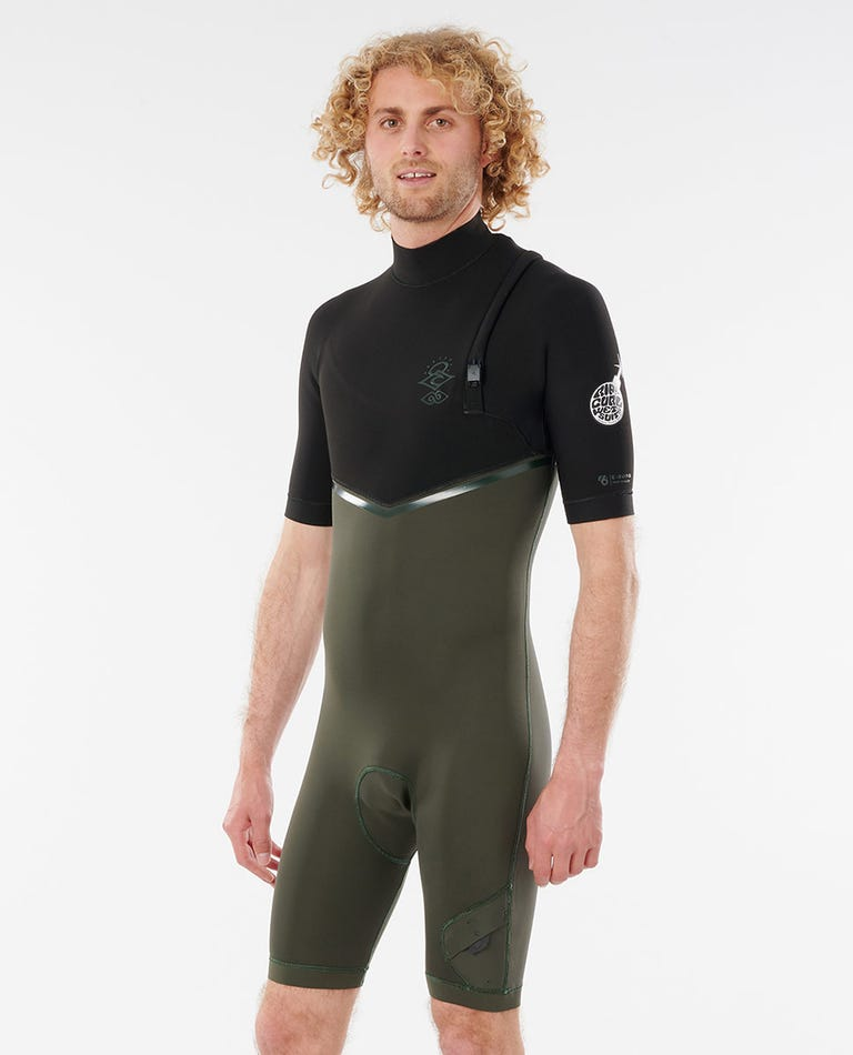 E-Bomb 2/2 GB Sealed Zip Free Springsuit Wetsuit in Olive