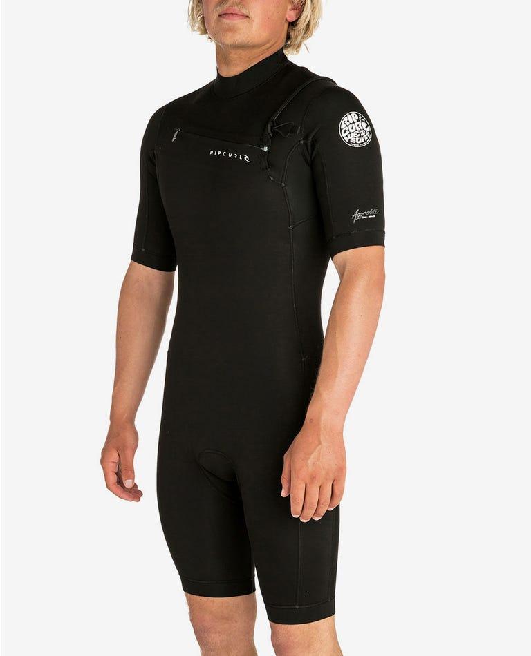 Aggrolite S/S Chest Zip Springsuit in Black