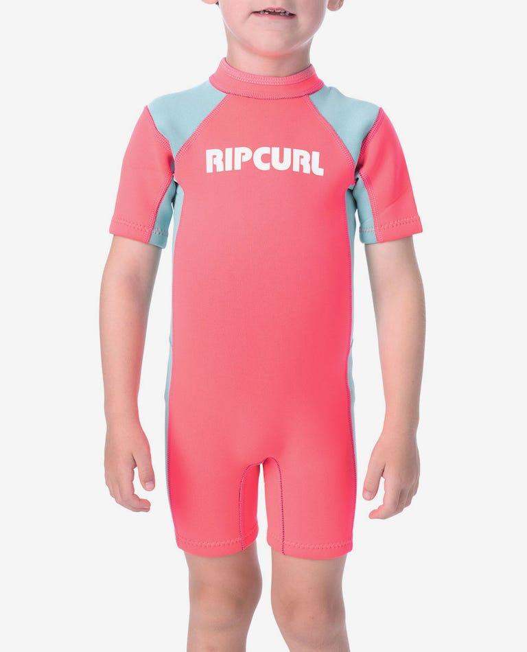 Boys Dawn Patrol S/S Springsuit Wetsuit in Pink