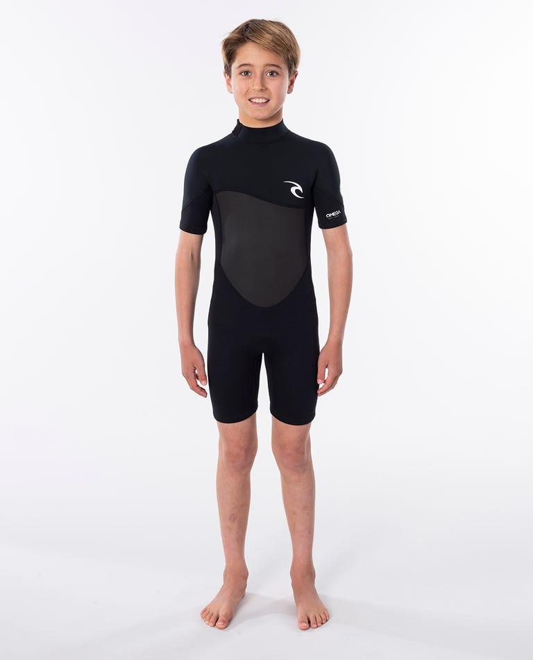 Junior Omega 1.5mm Short Sleeve Spring Wetsuit in Black