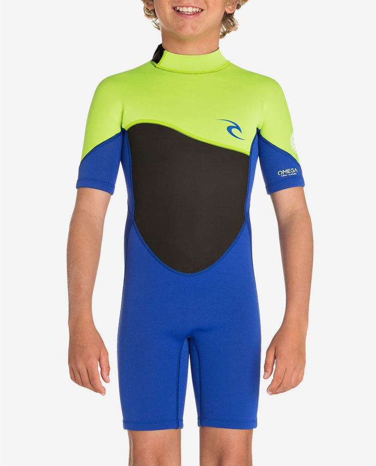 Junior Omega 1.5mm Short Sleeve Spring Wetsuit in Lime