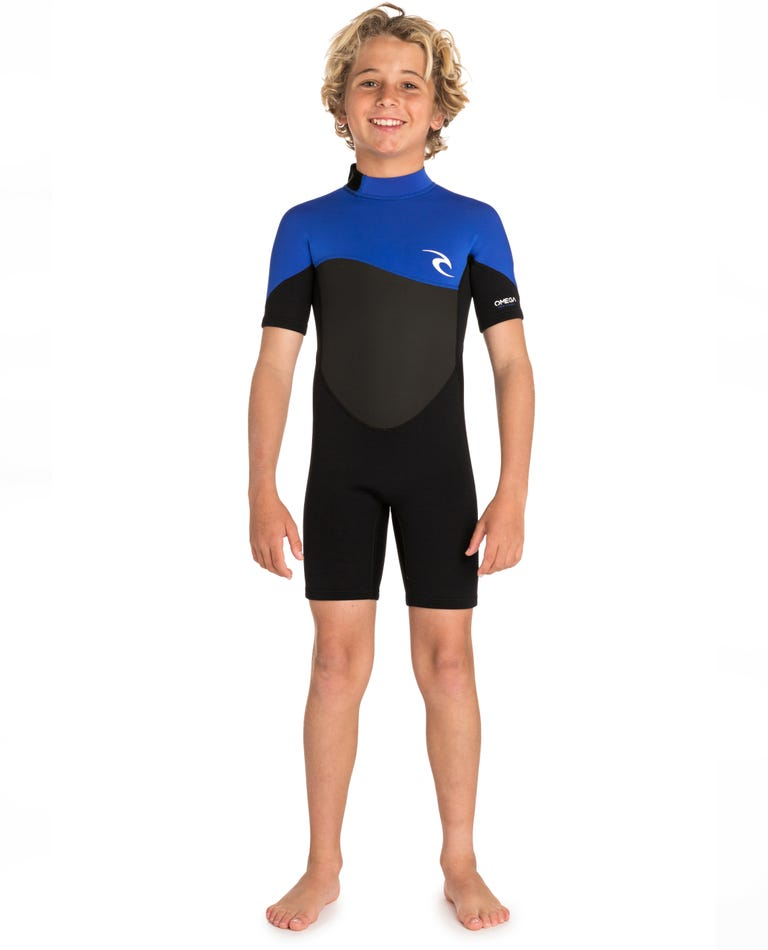 Junior Omega 1.5mm Short Sleeve Spring Wetsuit in Blue