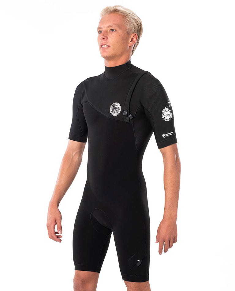 E Bomb 2/2mm Zip Free Short Sleeve Spring Suit in Black