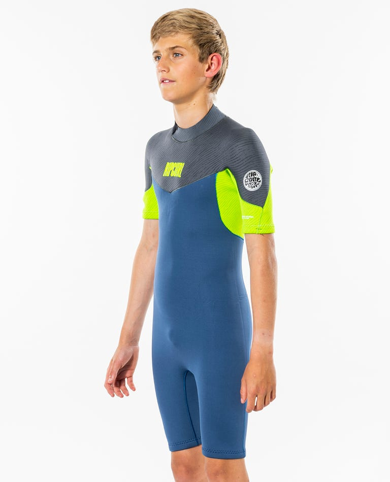 Boys 2mm Dawn Patrol Short Sleeve Spring Suit in Blue Grey