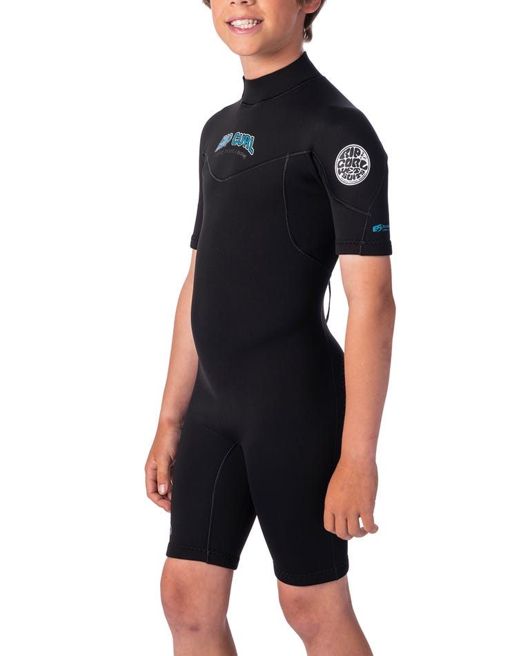 Boys 2mm Dawn Patrol Short Sleeve Spring Suit in Black