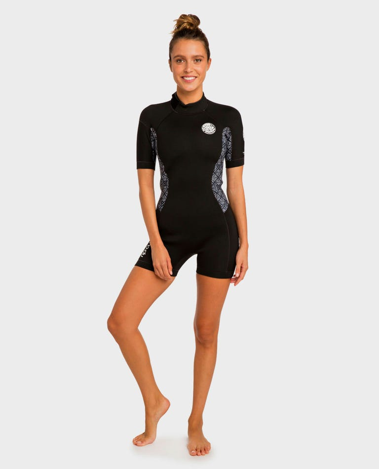 Womens Dawn Patrol S/S Springsuit Wetsuit in Black / White