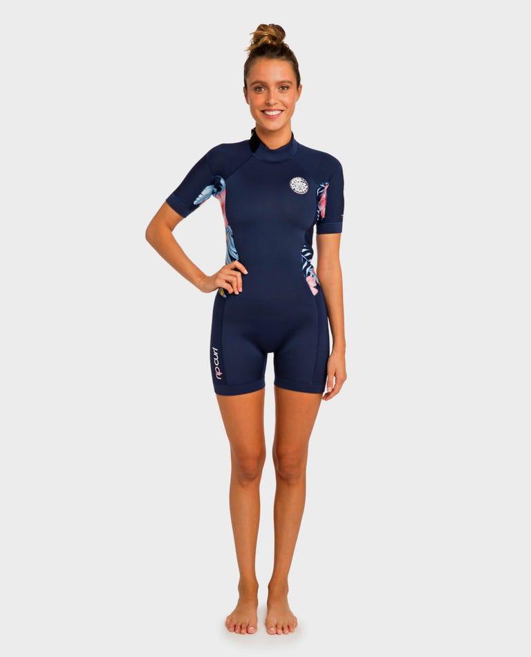 Womens Dawn Patrol S/S Springsuit Wetsuit in Navy
