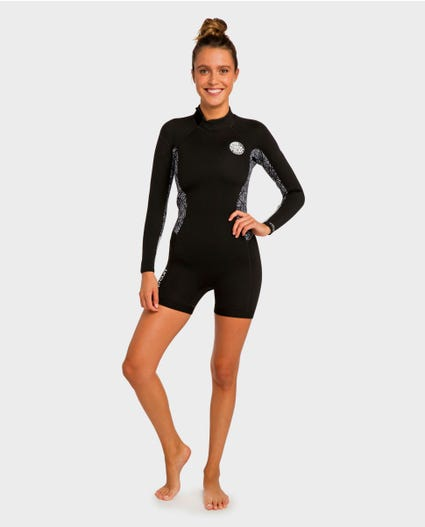Womens Dawn Patrol L/S Spring Wetsuit in Black / White