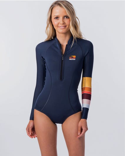 Surf Revival Long Sleeve Bikini Cut Springsuit Wetsuit in Stealth