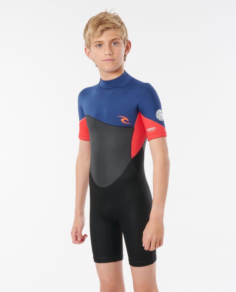 Omega 1.5 mm Short Sleeve Springsuit - Junior in Neon Red