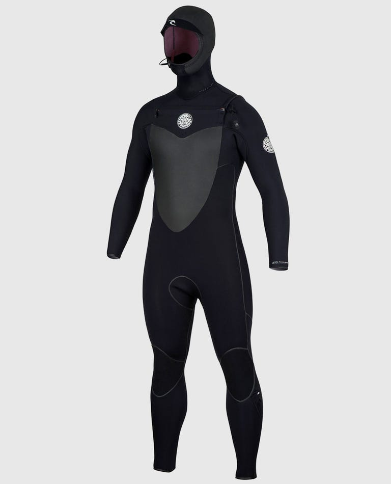 Flashbomb 5/4 Hooded Wetsuit in Black