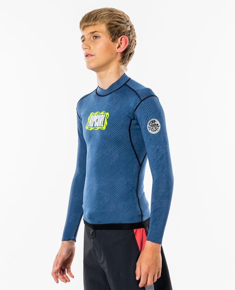 Dawn Patrol Reversible Long Sleeve Wetsuit Jacket - Junior in Blue Grey