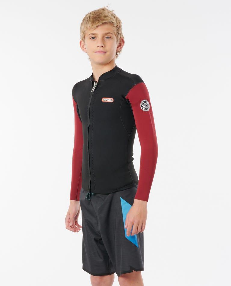 Dawn Patrol Full Zip Long Sleeve Wetsuit Jacket - Boys in Maroon