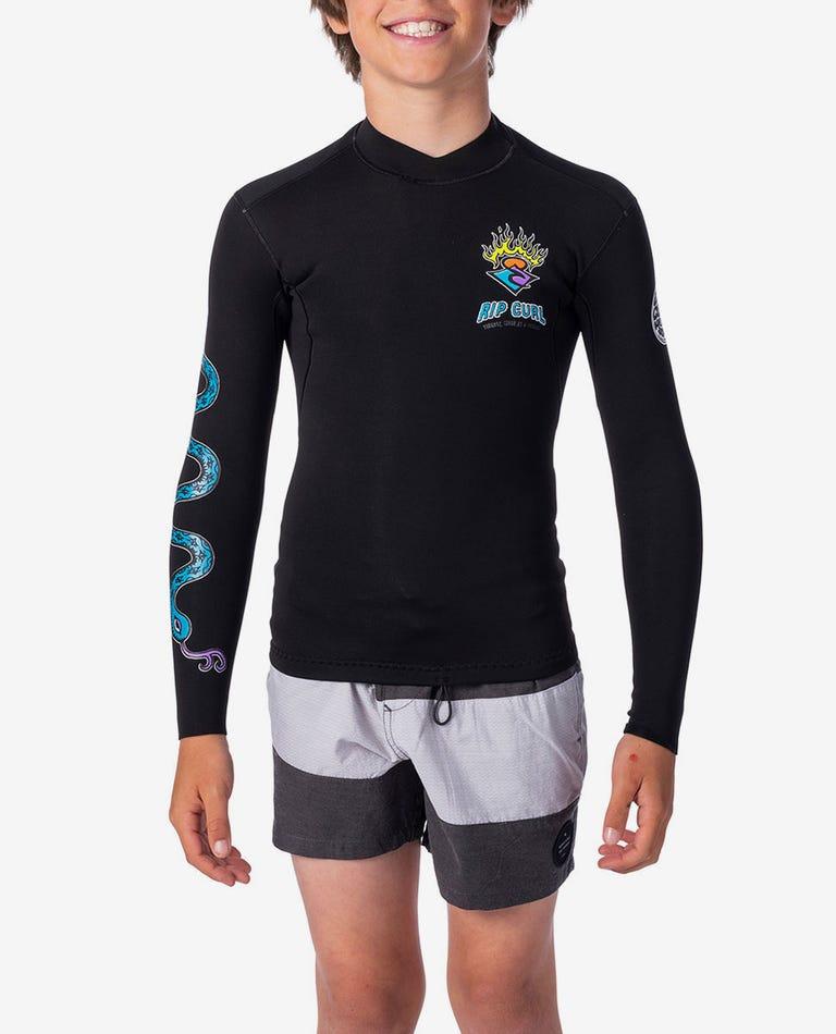 Boys Dawn Patrol 1.5mm Long Sleeve Jacket in Black