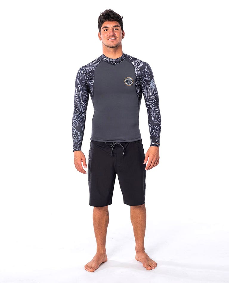E Bomb Long Sleeve Wetsuit Jacket in Charcoal Grey