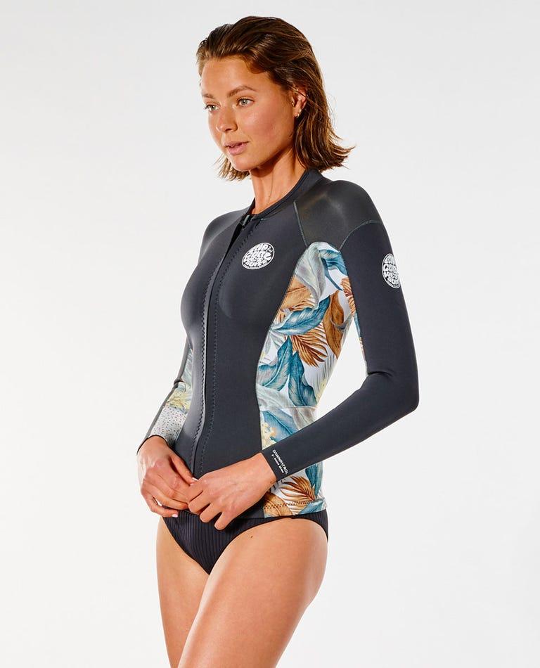 Womens Dawn Patrol Front Zip Wetsuit Jacket in Charcoal Grey