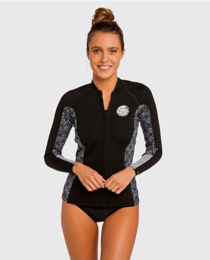 Womens Dawn Patrol Front Zip Wetsuit Jacket in Black Wash