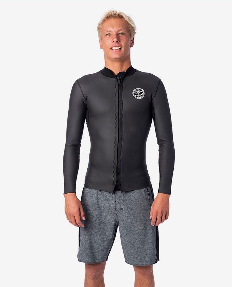 Dawn Patrol 1.5mm Long Sleeve Front Zip Jacket in Black