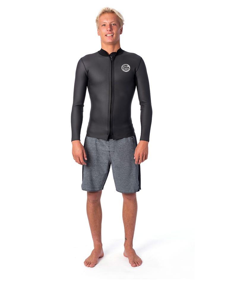 Dawn Patrol 1.5mm Long Sleeve Front Zip Jacket in Black