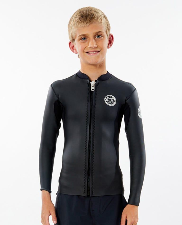 Dawn Patrol Long Sleeve Front Zip Jacket (6 - 16 years) in Black