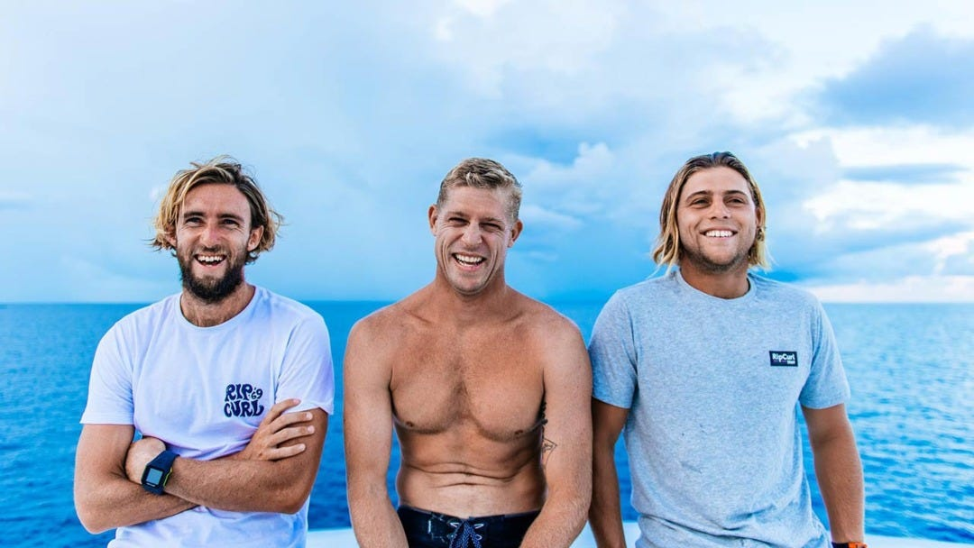 Wish You Were Here: Mick Fanning, Matt Wilkinson, Conner Coffin And A Boat In The Middle Of The Indian Ocean