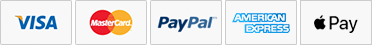 Icons of Visa, Master Card, PayPal, American Express, Apple Pay